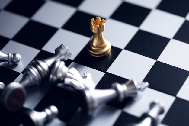 Chess board game competition business concept.