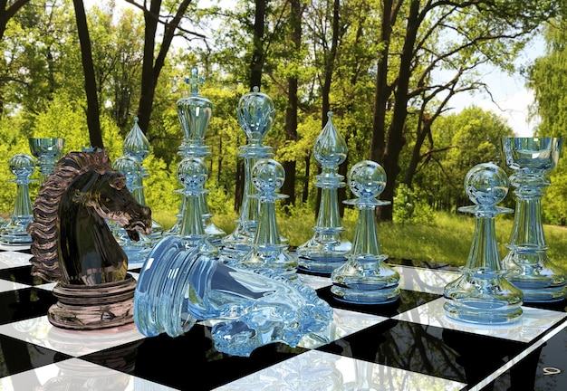 Chess board game competition in forest garden
