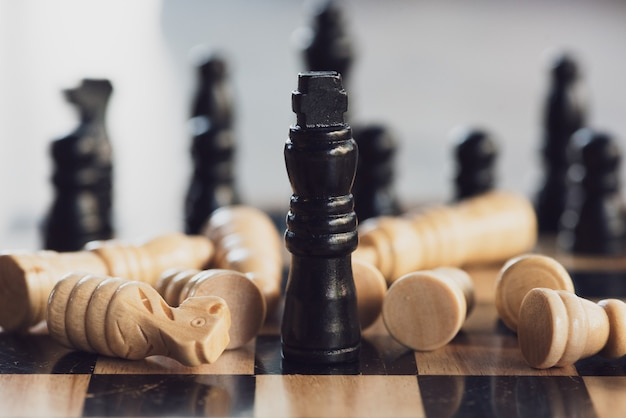 Chess board game concept of business ideas and competition and stratagy plan success.