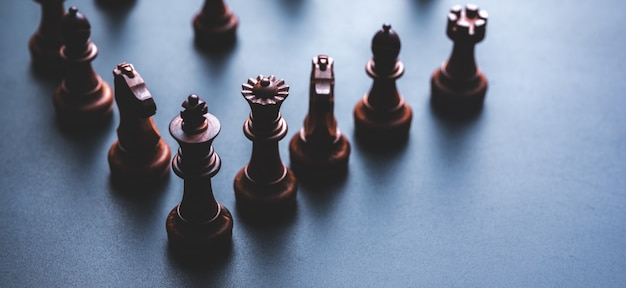 Chess board game for the concept of co-worker business team and business success concept