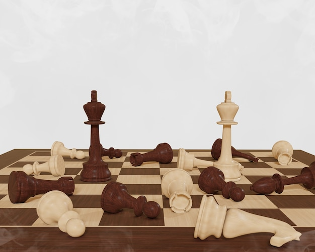 Chess board game concept competition strategy chess on white background battle for victory