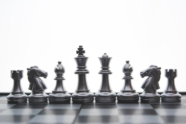 Шахматная настольная игра концепция бизнес-идей и конкуренции и стратегический смысл успеха