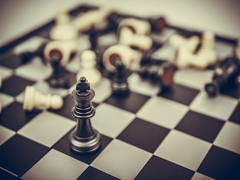 Chess board game concept of business ideas and competition