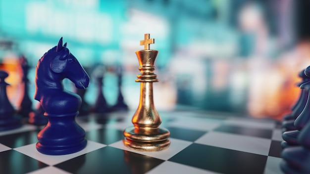 Шахматная настольная игра для идей и конкуренции и стратегии, концепции успеха в бизнесе. 3d визуализация и иллюстрации.