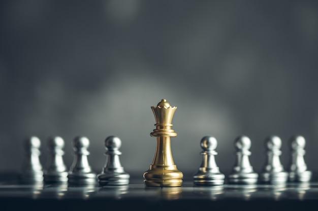 아이디어와 경쟁 및 전략, 비즈니스 성공 개념을위한 체스 보드 게임