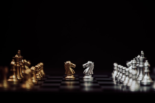 Chess board game gold and silver colour with copy space