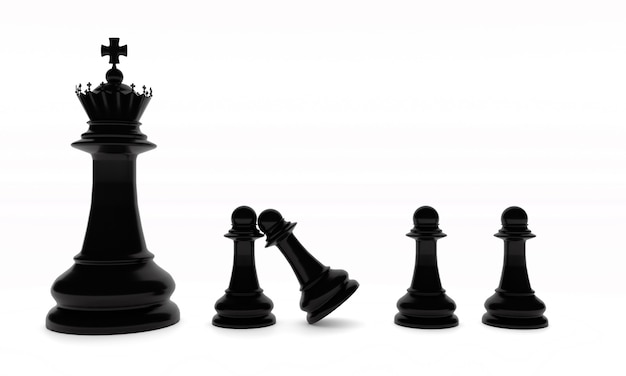 Chess board game pieces in black