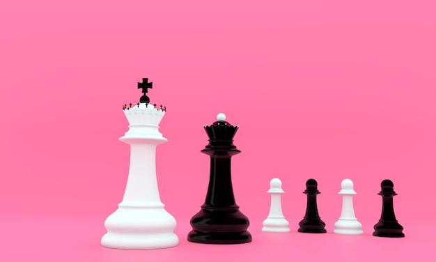 흑인과 백인 체스 보드 게임 조각