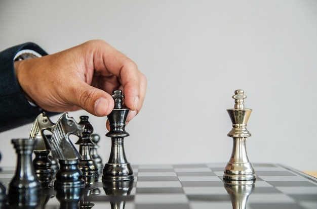 Chess board game strategy, business success concept