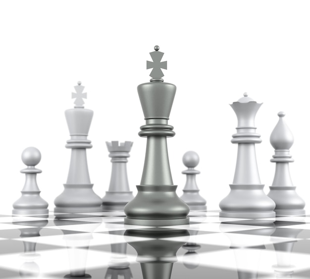 Chess board. isolated on white background. three dimensional rendering