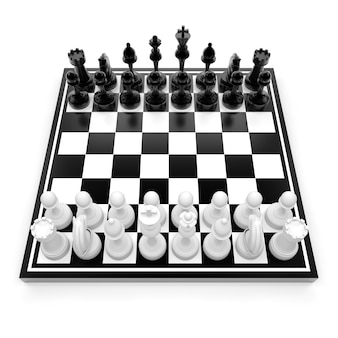 白い3dレンダリングイラストで隔離のチェスとチェス盤