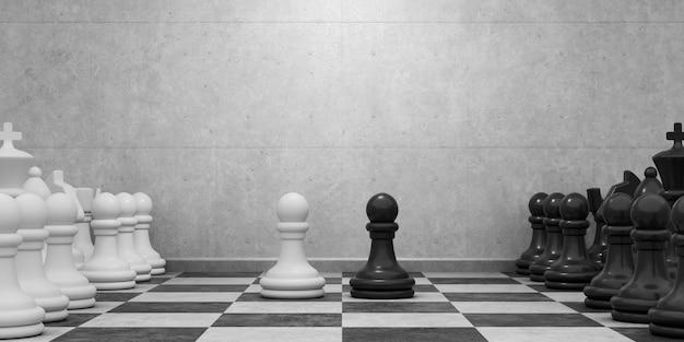 회색 콘크리트 벽의 배경에 체스 조각 체스 보드. 게임이 시작됩니다. 전략 및 경쟁 개념. 3d 그림.