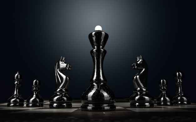 Chess board with figures on dark surface close up
