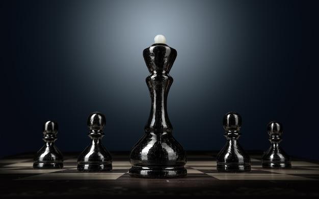Шахматная доска с фигурами на темном фоне крупным планом