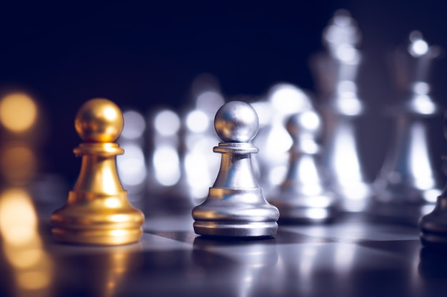 Chess bord game of business planning and potential challenge concept