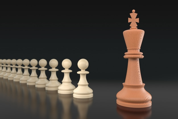 Chess business concept, leader & success. selective focus, shallow depth of field. 3d illustration