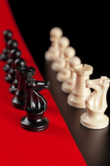 Chess business success, leadership . red .