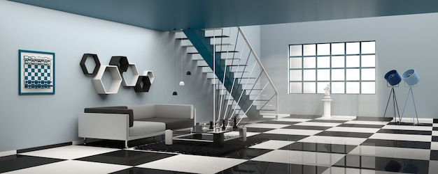 Chess concept scandinavian interior design. 3d illustration