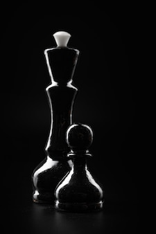 Chess figures on dark black background close up