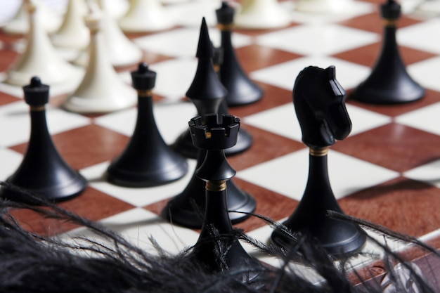 Chess figures with blurred background