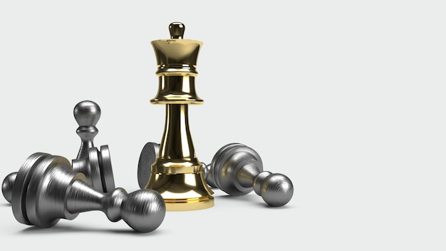 Chess game 3d rendering abstract idea for business content.