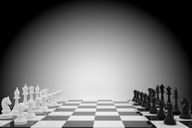 Chess game in 3d rendering
