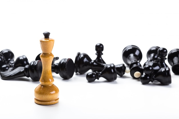 Chess game or chess pieces with white background