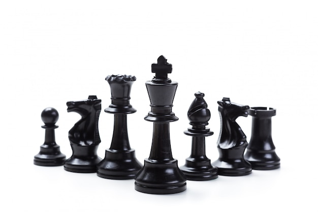Chess game or chess pieces with white