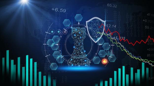 Игра в шахматы на шахматной доске за индикаторами диаграммы форекс или графиком фондового рынка в абстрактном фоне