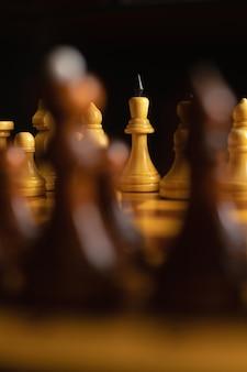 Chess game. playing. white king.