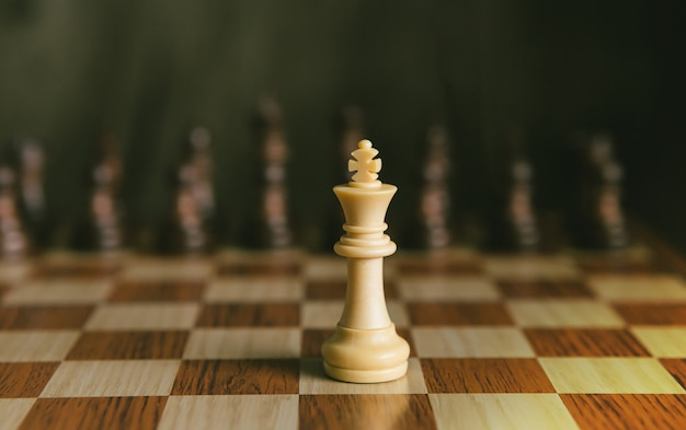 チェスゲーム黒チェスと唯一の白い王の戦い