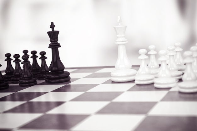 Chess game with black and white pawns