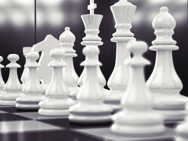 Шахматная игра с бело-черной доской Premium Фотографии