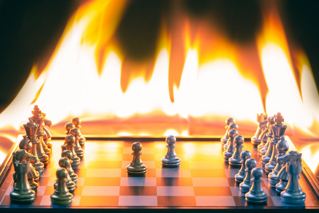 Chess games, both silver and gold, compete very hotly detail blur