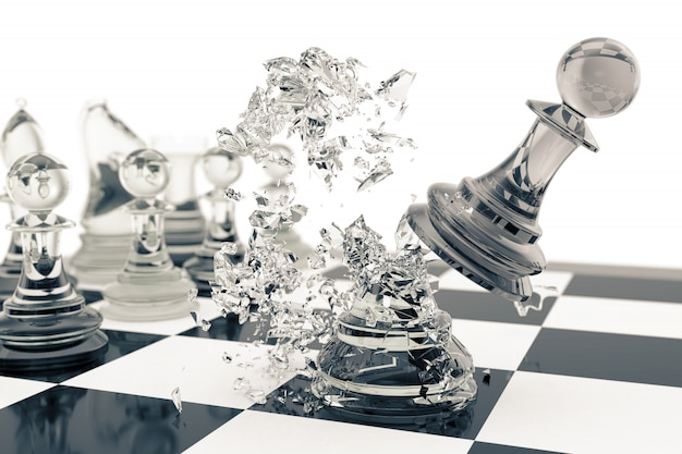 Chess games, victory, success in competition, leadership in business, transparent pawns