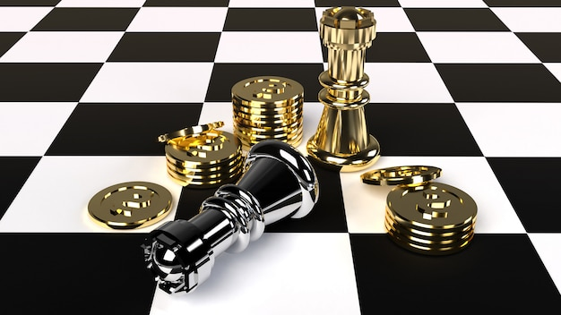 Chess and gold coin 3d rendering for business content.