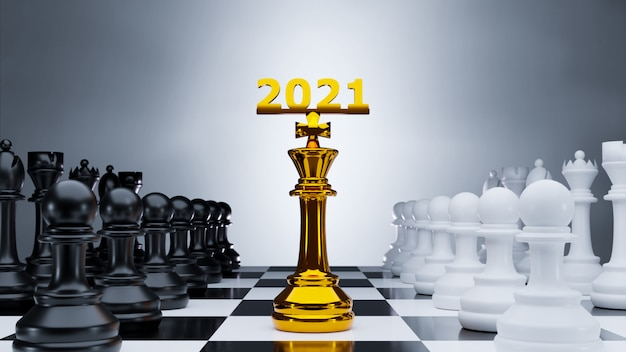 Золотая шахматная фигура, окруженная шахматными фигурами