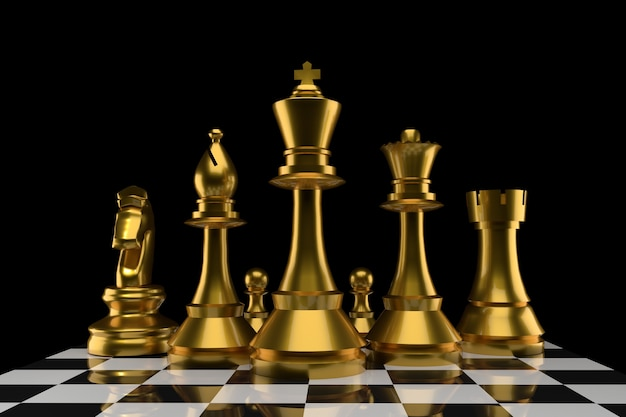 Chess of group in gold color in 3d rendering