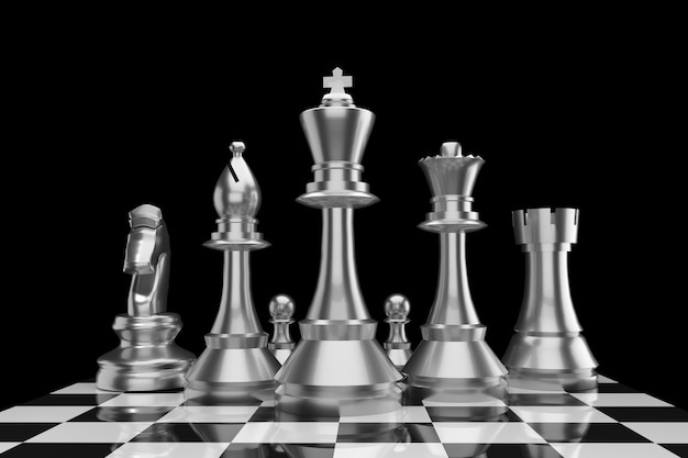 Chess of group in metal color in 3d rendering