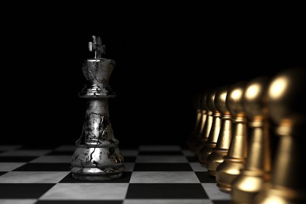 Король шахмат. дизайн 3d обоев. 3d-рендеринг.