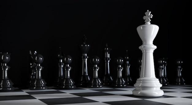 Шахматный король стоит среди различных белых шахматных фигур на 3d иллюстрации