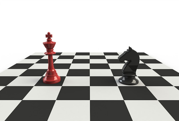 Chess king with black horse on the playing board