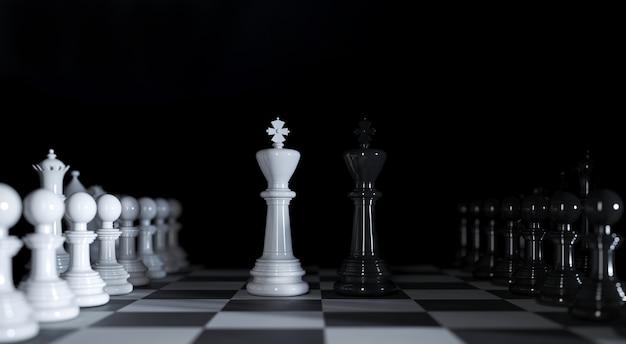 Шахматные короли стоят среди различных шахматных фигур на 3d иллюстрации