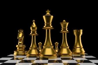 3Dレンダリングの金色のグループのチェス