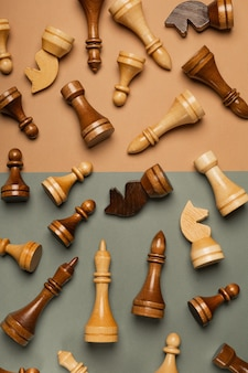 평면 배경 평면도에 체스