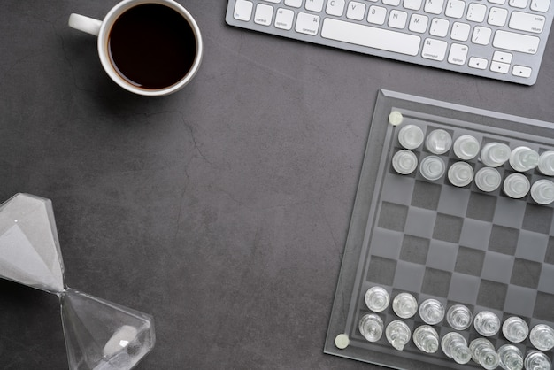 Chess online and strategy business  from top view