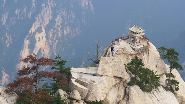 The chess pavilion located on the top of the huashan mountain, famous attraction in china