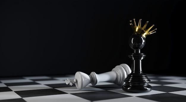 Шахматный пешечный король стоит рядом с побежденным королем на 3d-иллюстрации