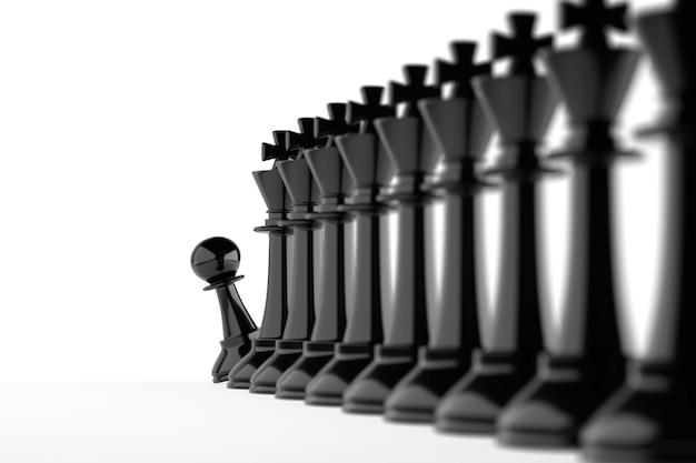 チェスのポーンは、王の列の終わりをのぞきます。求人コンセプト