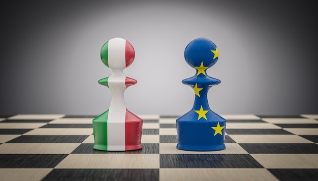 Chess pawns with italian and european flag.